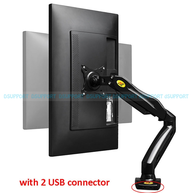 NB F80U Desktop Gas Spring 17-27 LCD LED Monitor Holder Mount Arm with Two USB Ports Full Motion Display Stand Loading 2-6.5kgs