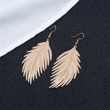 CRLEY Metal Feather Pendant Dangle Drop Earrings for Women Big Gold Silver Wedding Jewelry Tassel Statement Geometric