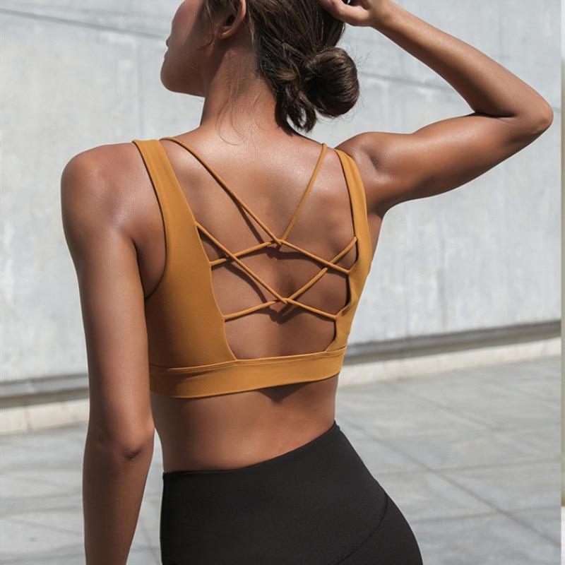 Mermaid Curve 2019 Women Sexy V Collar Yoga Bra Back Cross Hollow Design Sports Bra Woman Shockproof Fitness Yoga Push Up Bra