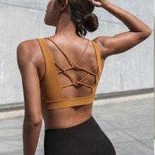 cdb78de5857f9 Mermaid Curve 2019 Women Sexy V Collar Yoga Bra Back Cross Hollow Design  Sports Bra Woman