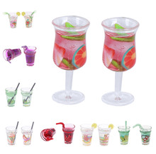 1/2PCS Scale 1:12 Dollhouse Mini Lemon Milk Tea Water Fruit Cup Miniature Accessories Cups Toy Decoration Gifts