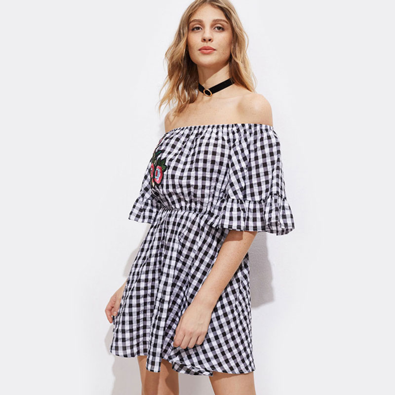 Casual Slash Neck Plaid Mini Dresses Women Sexy Flare Sleeve Embroidery A-line Loose Dress Summer Ladies Elegant Fashion Dress