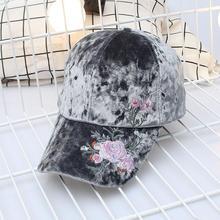 Cap Flowers Hats Gorras Baseball-Cap Balls Velvet Fashion Snapback Embroidered Adjustable