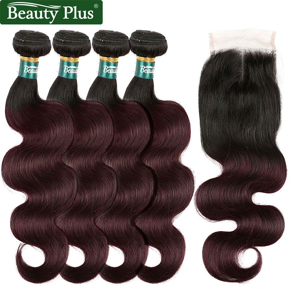 Ombre Human Hair 99J Bundles With Closure Beauty Plus Non Remy 4x4 Light Brown Lace Brazilian Body Wave 4 Bundles With Closure