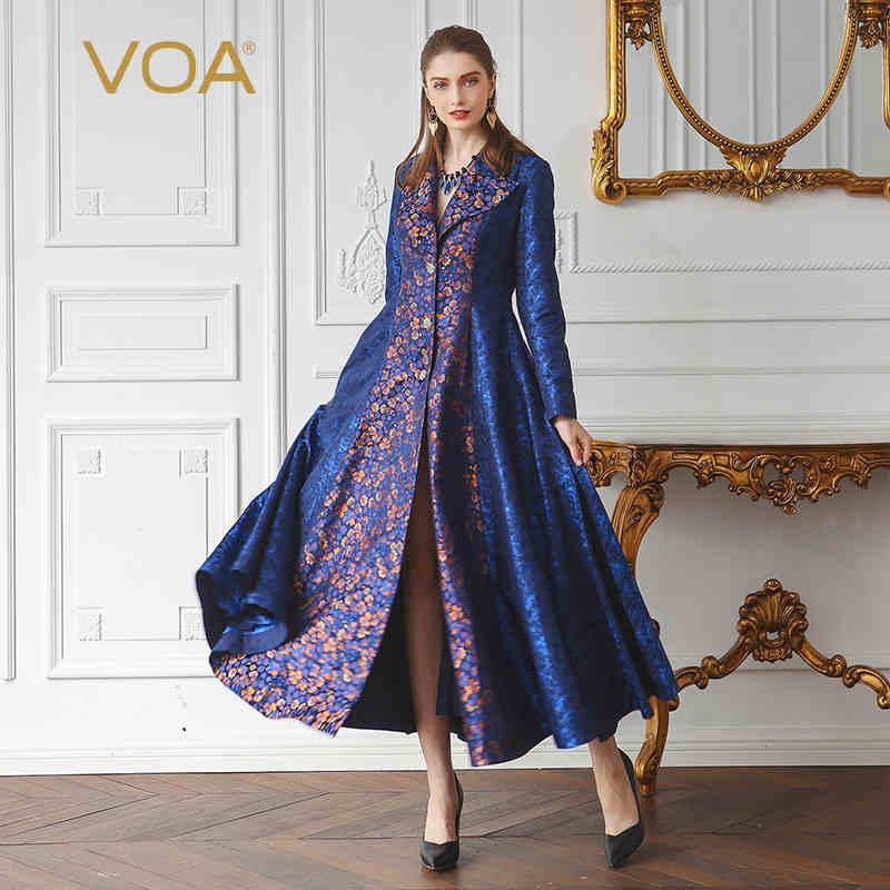 VOA 2020 Autumn Winter New Closure Collar Vintage Print Plus Size Long Trench Silk Jacquard Women Sexy Tunic Coat FLX05101