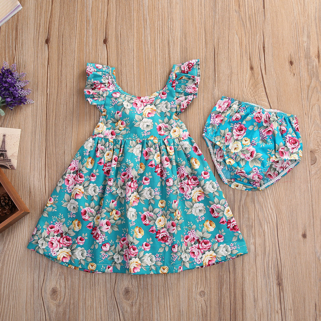 1cdd98781772 Summer Toddler Kids Baby Girl Clothing Floral Dress Sundress Briefs ...