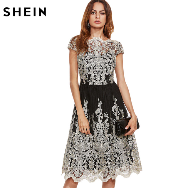 42a890b179 SHEIN Party Dresses Color Block Black Champagne Contrast Fit and Flare  Embroidered Cap Sleeve Knee Length