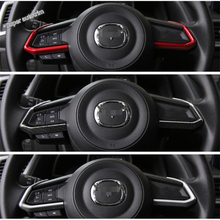 Lapetus Accessories Interior Steering Wheel Strip Cover Trim Red / Matt / Carbon Fiber ABS Fit For Mazda CX-9 CX9 2017 2018 2019 lapetus car steering wheel frame cover trim 2 pcs fit for hyundai kona 2018 2019 carbon fiber look