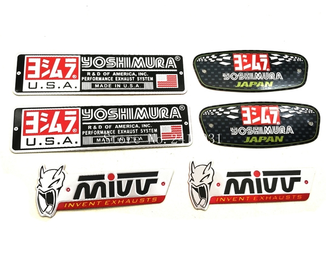 Motorcycle yoshimura exhaust scooter muffler pipe sticker decals aluminium label for honda kawasaki yamaha ktm suzuki