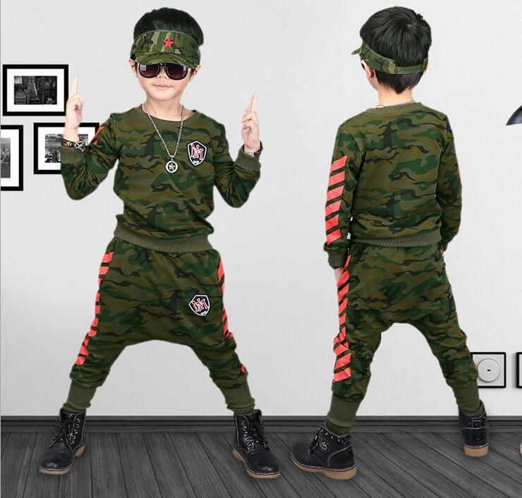 boys clothes Autumn children 2017 new boys tracksuit cotton Camouflage two piece clothing kids clothes suit 4 6 8 10 12 14 years
