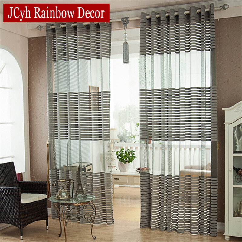 Solid Striped Tulle Curtains For Living Room Bedroom Modern Blue Kitchen Door Sheer Curtains Vole Window Curtains Home Drapes