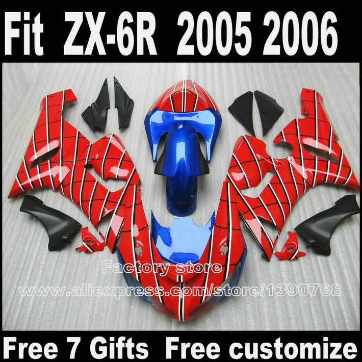 Plastic Fairing Kit For Kawasaki ZX6R 2005 2006 ZX 6R 05 06 Ninja 636 Blue Red