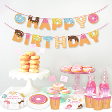 Donut Theme Birthday Party Paper Plates/Cups/Banner/Napkins/Tablecloth Kids 1st Decoration Baby Shower Supplies