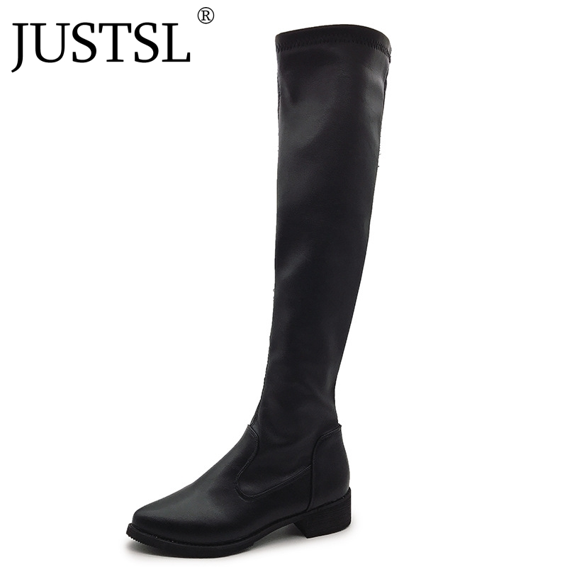 JUSTSL 2018 New Women's Fashion shoes Long tube ladies boots Pointed Toe Flat with knee high female boot