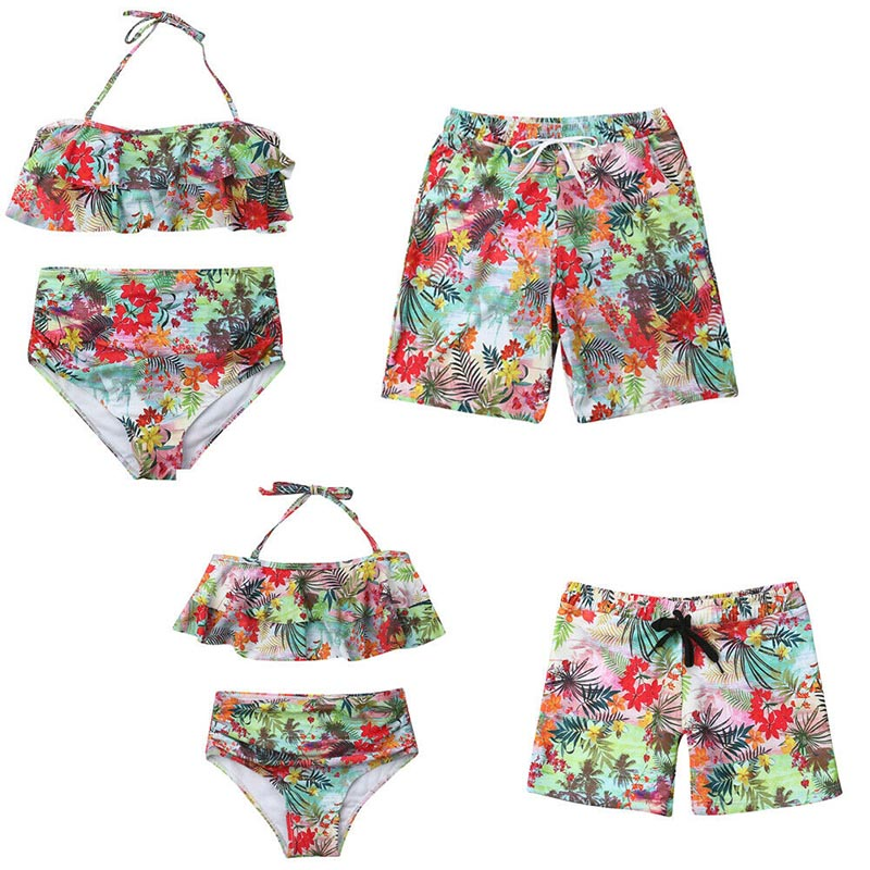 2019 Family Matching Swimwear Father Mother Kids Swimsuit Women Girls Floral Bikini Men Boys Trunks Swimming Suit Beachwear
