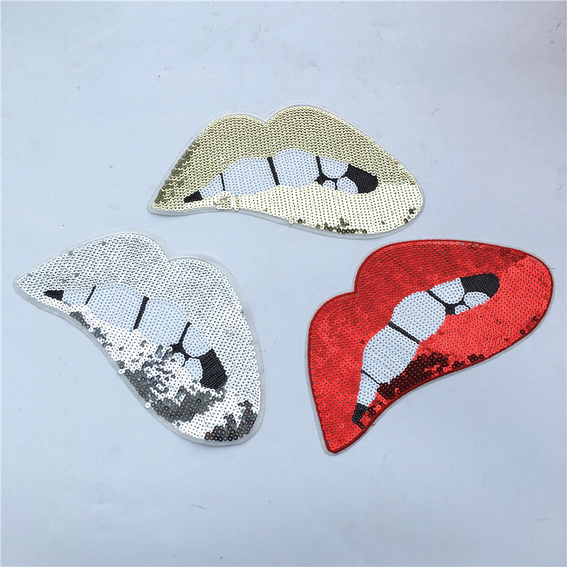 2 stk. Rød / Gull / Sølv Sequins Lips Patches For Garment Tilbehør Broderi Iron On Patches For Clothing DIY Motif Applique