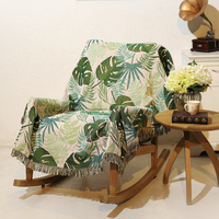 New Knitted Blankets for Beds Cotton Tassels Tropical Plants Print Winter Chair Throw Blanket for Bedroom India Style Blankets