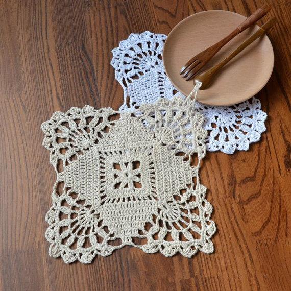 12 unids 18x18 cm Iris floral patrón de crochet cuadrados posavasos ...