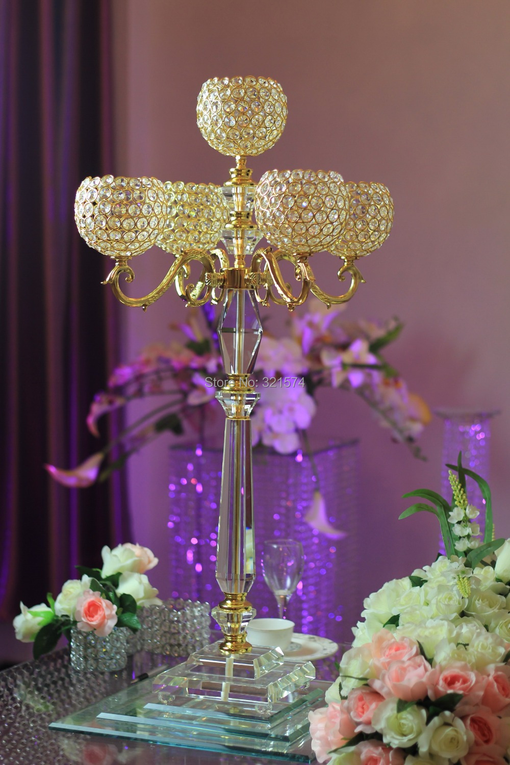 Wedding crystal globe centerpieces arm inch tall