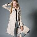 Женщины Моды Двойной Грудью пальто женский длинный Ремень Плащ пальто женщин Высокого качества осень зима Ветровка пиджаки 135