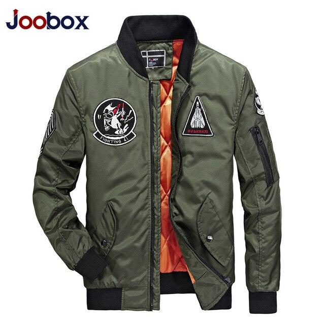 grossiste f6c9b 7d0a3 € 50.9 |JOOBOX marque 2018 mode Bomber veste hommes épais chaud printemps  automne moto militaire vol Ma 1 pilote Air Force manteau dans Vestes de  Mode ...