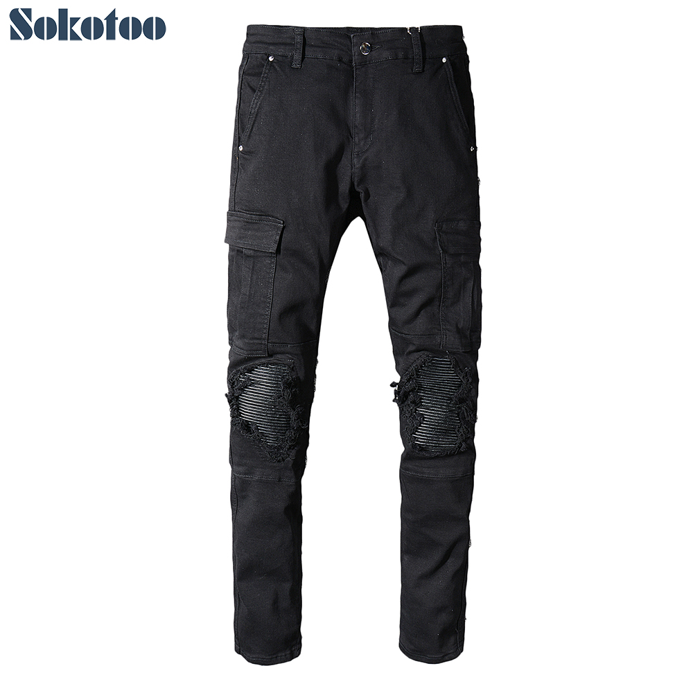 Sokotoo Men's Black PU Leather Patchwork Biker Jeans For Motorcycle Slim Fit Skinny Pockets Cargo Stretch Denim Pants