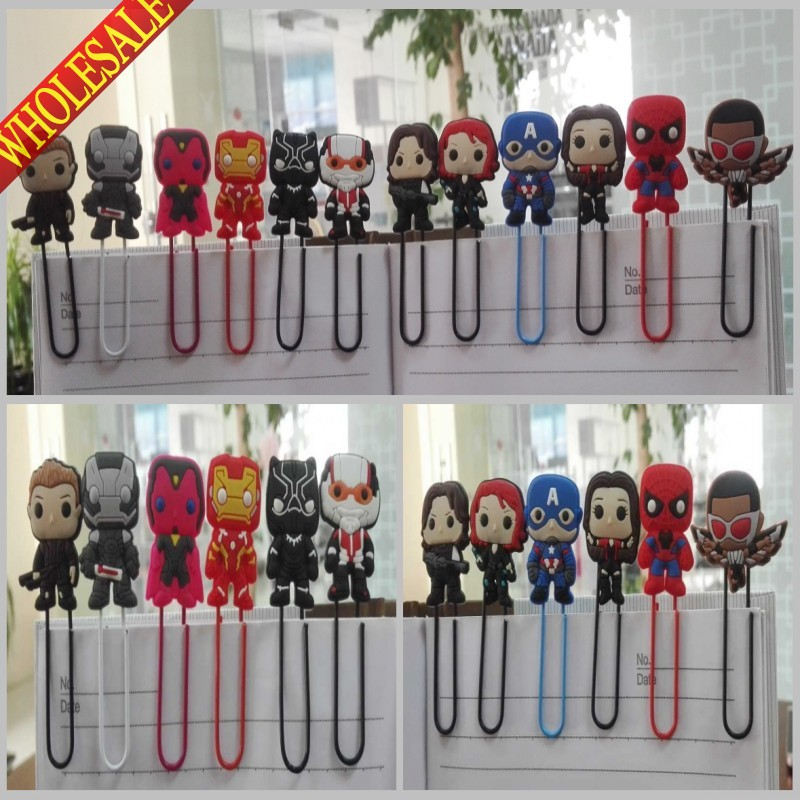 Hot Sale 12PCS The Avengers Popular Bookmarks,Hot Cartoon Paper Clips,Magazine Label Reading Office Supplies Kids Best Gifts