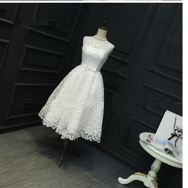 En Stock blanc grande taille robes sans manches dentelle robe de bal blanc Onepiece robe de bal courte thé-longueur robe de bal 0413
