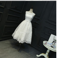 In Stock White Plus Size Dresses Sleeveless Lace Ball Gown White Onepiece Prom Party Dress Short Tea Length Ball Dress 0413