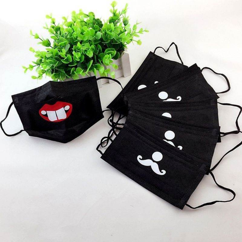 Disposable Face Mouth Mask Funny Cartoon Print 3 Layer Non-Woven Protective Soft