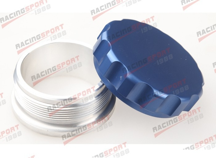 2.5 63.5mm Aluminium Alloy Weld On Filler Neck And Cap Oil, Fuel, Water Tank blue