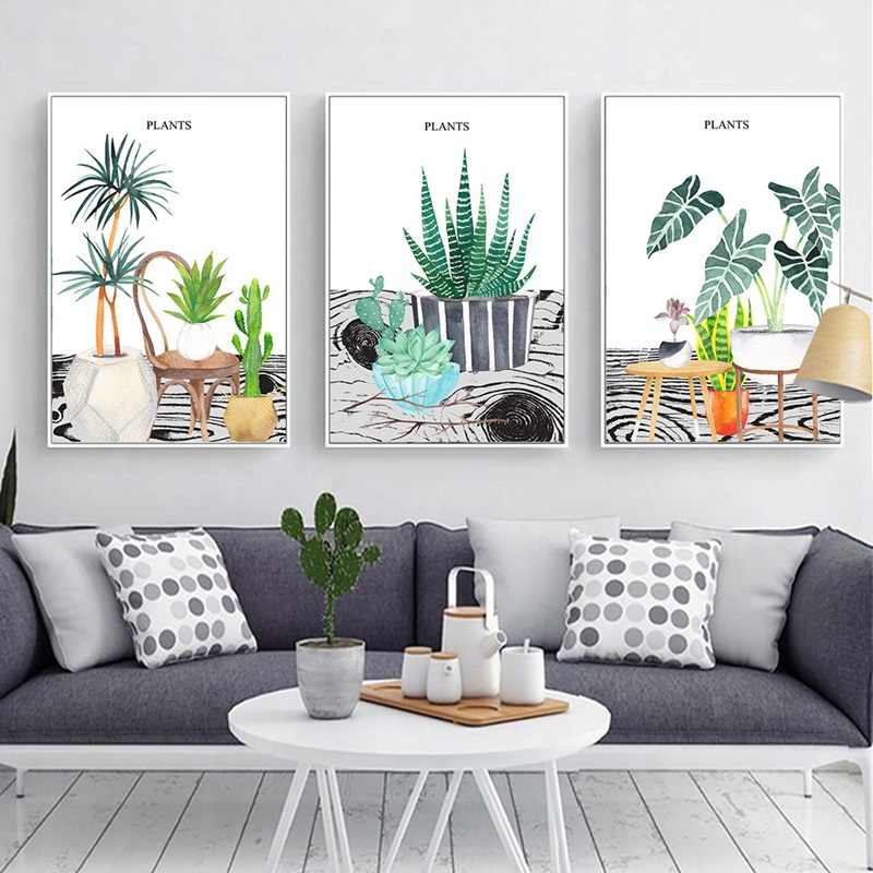 Cute Viewing Tree And Small Potted Poster Print Canvas Painting Picture Modern Home Wall Art Decoration Can Be Customized