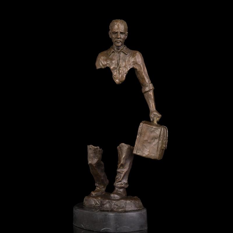 Rame Statue di Bronzo Astratta Uomo Figurine Viaggiatore Figura scultura In Ottone Anima Viaggio Moderno Studio Decor