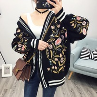 European station 2017 advanced spring and autumn heavy art embroidery sweater cardigan loose