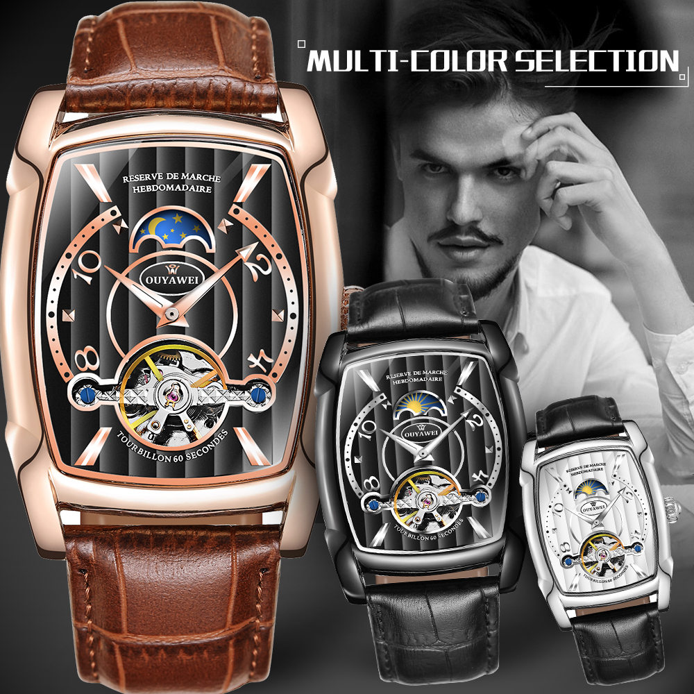Mens Watches Top Brand Luxury Mechanical Watches Automatic Tourbillon Business Casual Leather Moon Phase Horloges Mannen sollen mens watches top brand luxury moon phase automatic mechanical watch men casual fashion leather strap skeleton wristwatch