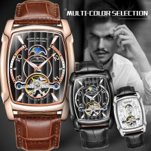 Mens Watches Top Brand Luxury Mechanical Automatic Tourbillon Business Casual Leather Moon Phase Horloges Mannen
