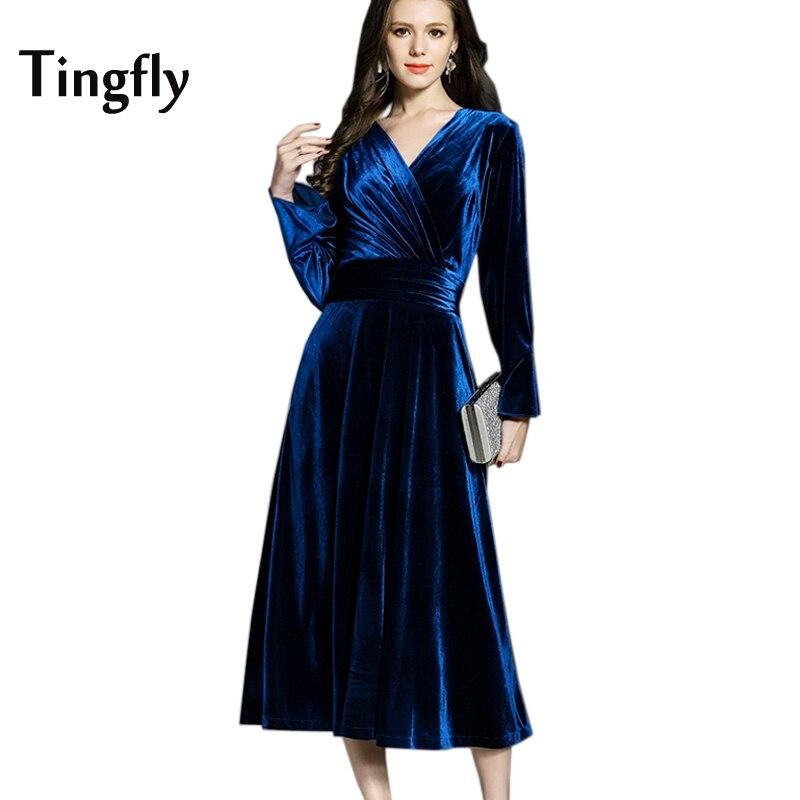 6fbf8ca5a2 Tingfly Designer Cruz de Veludo V pescoço Plissado Vestido Do Vintage  Cintura Fina Midi Longo Vestidos De Festa De Veludo Plus Size Azul Royal  rosa em ...