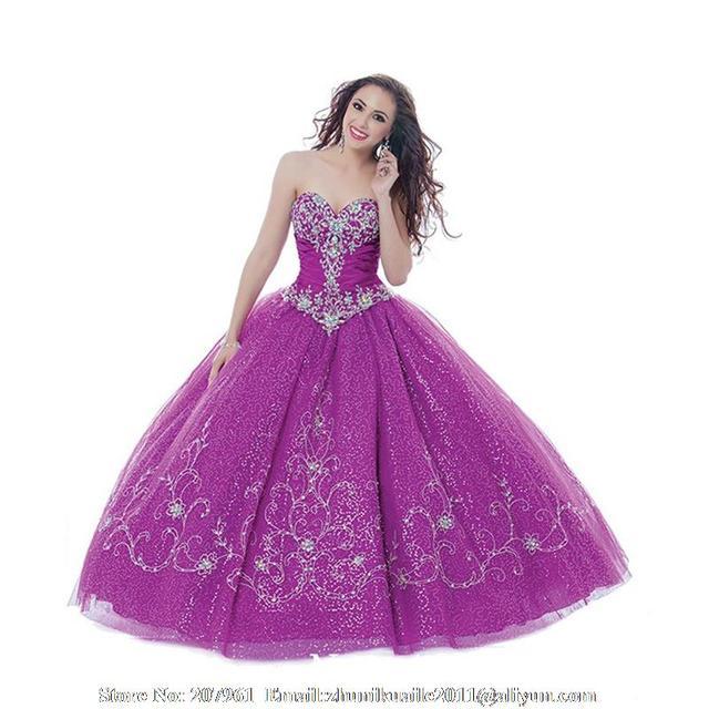b456d26659 Purple Quinceanera Vestidos novia Vestidos De Quinceanera dulce 16 Vestidos  con Crystal vestido De 15 años