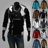 Homens de Manga Longa Ocasional Slim Fit Tamanho Zipper Camisola Hoodies Jacket Outwear|zipper hoodie|sweatshirt jacket|zipper hoodie sweatshirt -