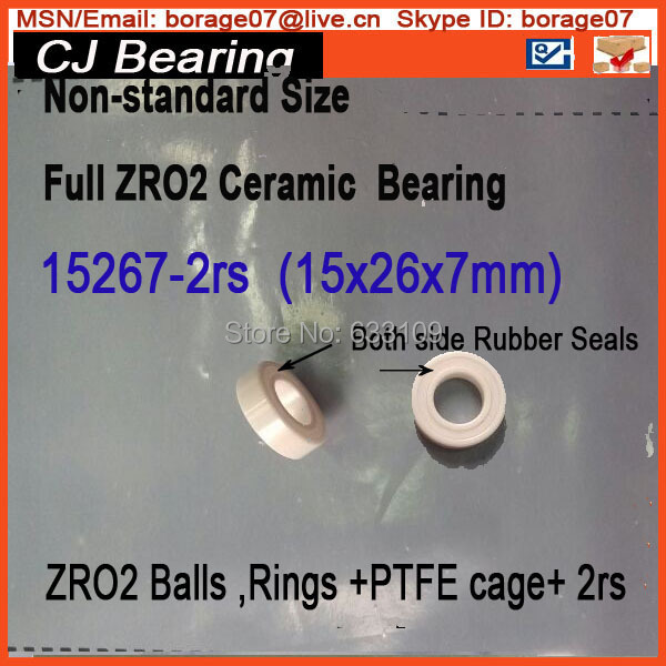 15267-2rs Ceramic wheel hub bearing zro2 15267 15*26*7mm full zro2 ceramic bike bearing 15267 2rs 15 26 7mm 15267rs si3n4 hybrid ceramic wheel hub bearing