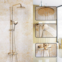 Thermostatic Shower Faucet Set Gold Bathroom Rainfall Shower Set With Mixer Tap Wall Mounted Bath & Shower Faucet SL666