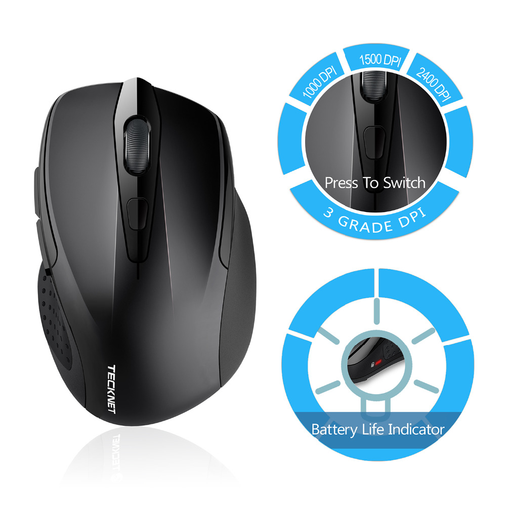 TeckNet Pro 2.4GHz Wireless Mouse Nano Receiver Ergonomiske Mus 6 - Computerudstyr - Foto 2