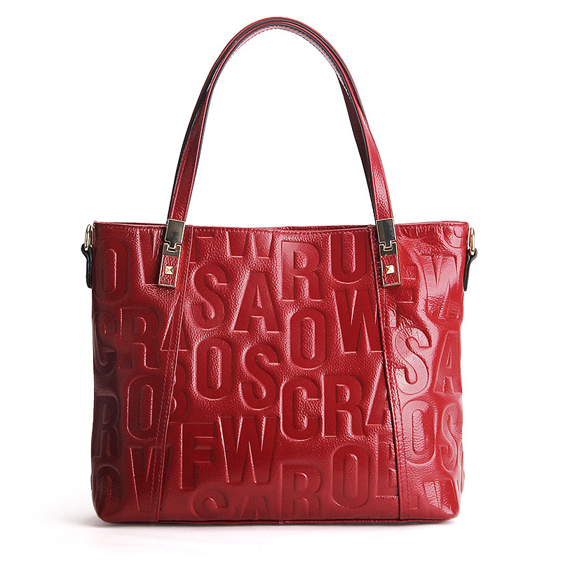 2019 Brand Designer Letters Embossed Genuine Leather Women\'S Handbag Cowhide Leather Large Female Tote Bag Shoulder Bag