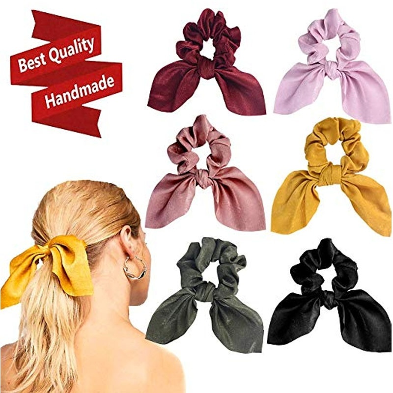 Fashion Women Rabbit Ear Shape Scrunchie Bowknots Silk Fabric Ponytail Holder Elastic Hair Bands Hair Accessories