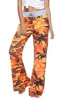 Women's Comfy Stretch Camouflage Drawstring Long Wide Leg Lounge Pants
