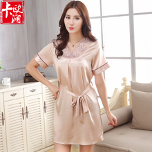 2016 Noble Silk Nightgowns Women Summer Sleepwear V-neck Nightwear Silk Solid Sleepshirts