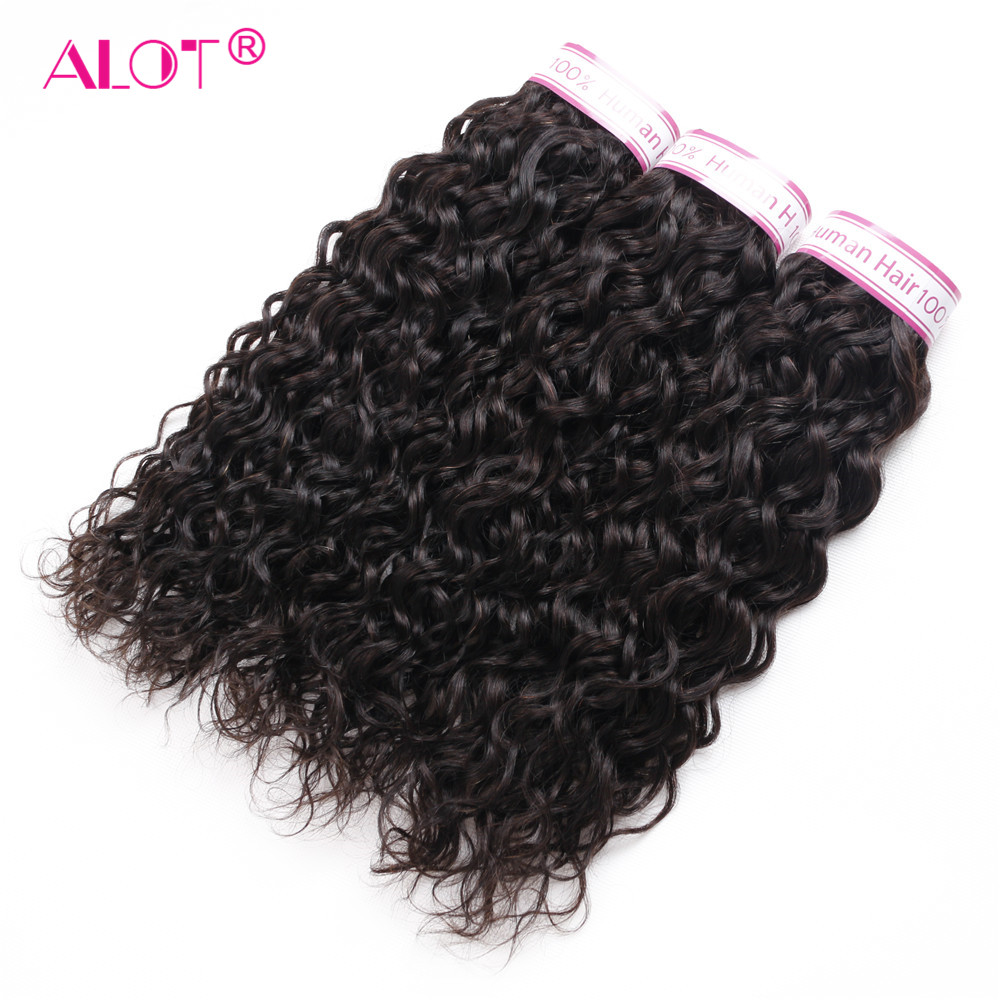 Brazilian Water Wave Human Hair Extensions Natural Black 3 Pieces Non-Remy Hair Weave Bundles Alot Human Hair Weft