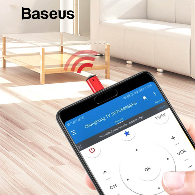 Baseus IR Remote Control for iPhone X 8 7 Samsung S9 S8 Type C Jack Universal Smart TV Controller Adapter for Air Conditioning new original universal remote control controller replacement universal for samsung tv for samsung lcd led smart tv wholesale