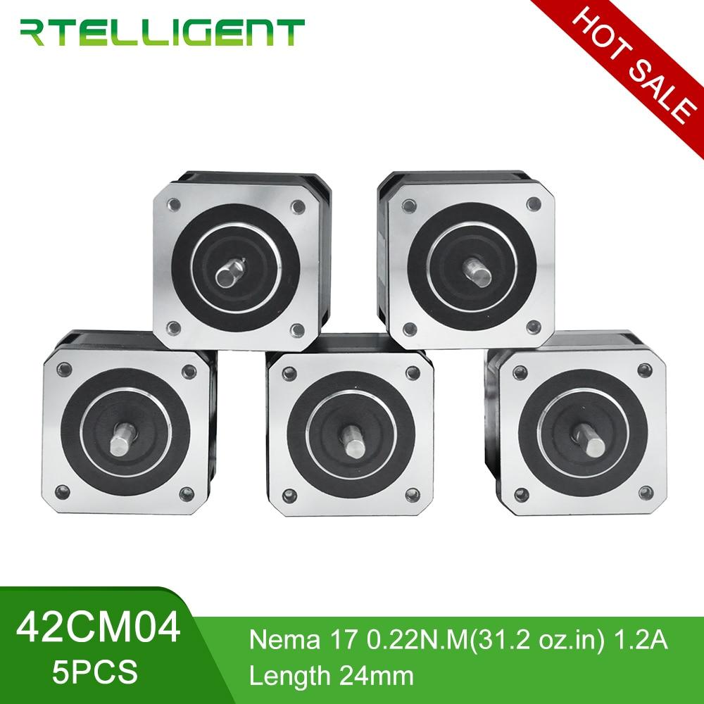 Rtelligent 5PCS 4 Lead Nema 17 0.22/0.34N.M 1.2/1.5A Stepper Motor Step Motor Nema17 42CM04 (42BYGH) 1.2A for 3D Printer CNC XYZ