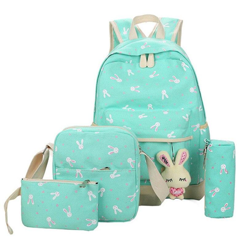 School Bags for Teenagers Girls Schoolbag Large Capacity Ladies Printing School Backpack Set Rucksack Bagpack Cute Book Bags